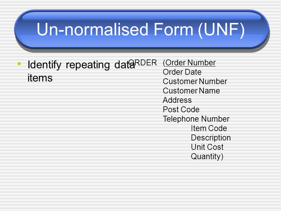 Un-normalised Form (UNF) Identify repeating data items ORDER(Order Number Order Date Customer Number Customer Name Address Post Code Telephone Number