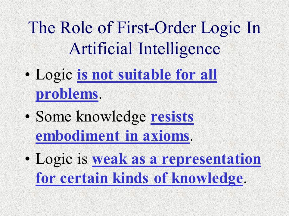 The Role of First-Order Logic In Artificial Intelligence Logic is not suitable for all problems.