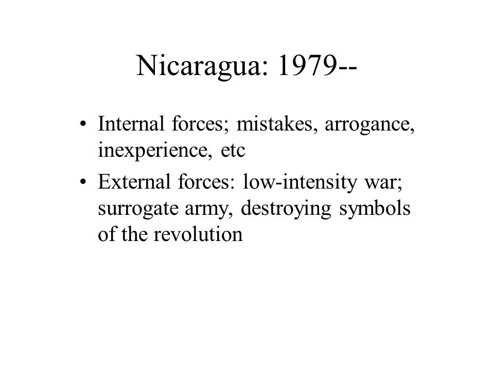 Reasons The images, and symbols of the revolution contrary to the ideals of rampant capitalism Sandinistas still a threat to the new social order A new physical and ideological landscape needed to be constructed.
