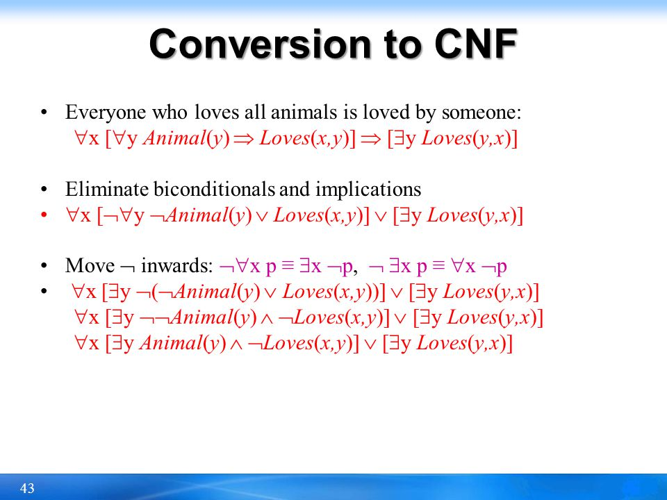 43 Conversion to CNF Everyone who loves all animals is loved by someone: x [ y Animal(y) Loves(x,y)] [ y Loves(y,x)] Eliminate biconditionals and impl