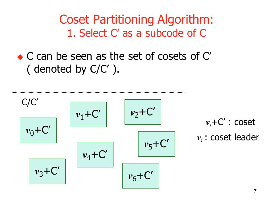 7 Coset Partitioning Algorithm: 1. Select C as a subcode of C C can be seen as the set of cosets of C ( denoted by C/C ). v i +C : coset v i : coset l