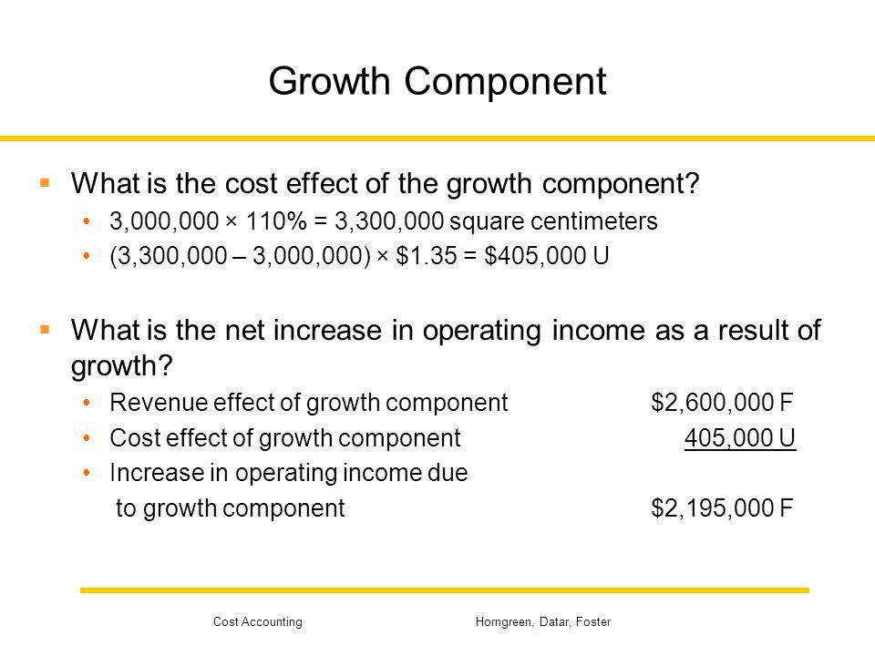 Cost Accounting Horngreen, Datar, Foster Growth Component What is the cost effect of the growth component? 3,000,000 × 110% = 3,300,000 square centime