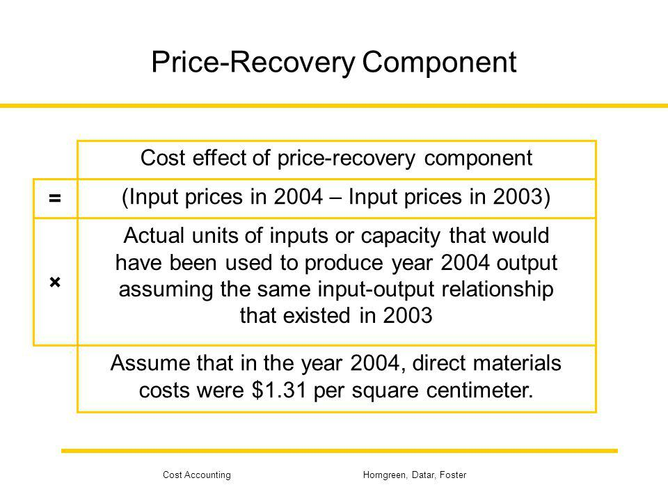 Cost Accounting Horngreen, Datar, Foster Price-Recovery Component Cost effect of price-recovery component (Input prices in 2004 – Input prices in 2003