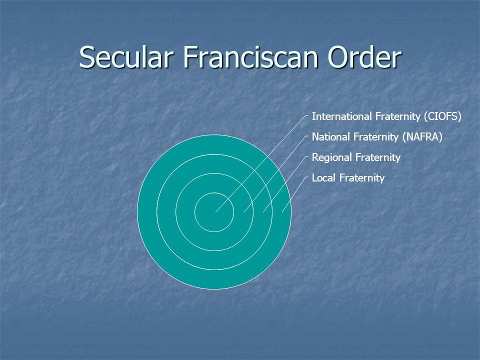 Secular Franciscan Order International Fraternity (CIOFS) National Fraternity (NAFRA) Regional Fraternity Local Fraternity