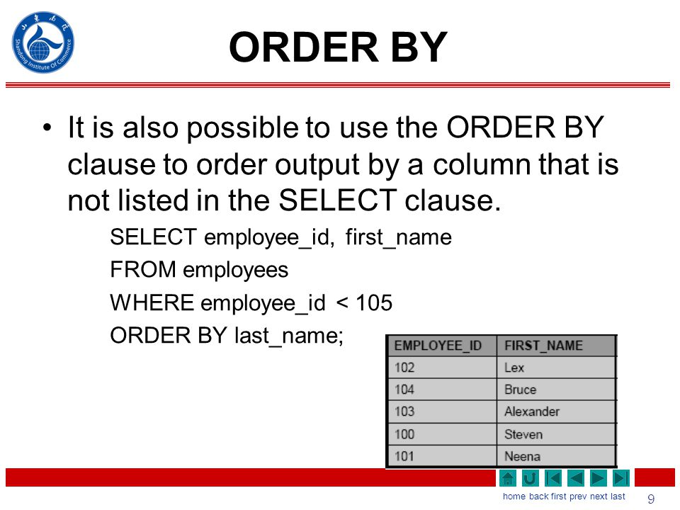 9 home back first prev next last ORDER BY It is also possible to use the ORDER BY clause to order output by a column that is not listed in the SELECT clause.