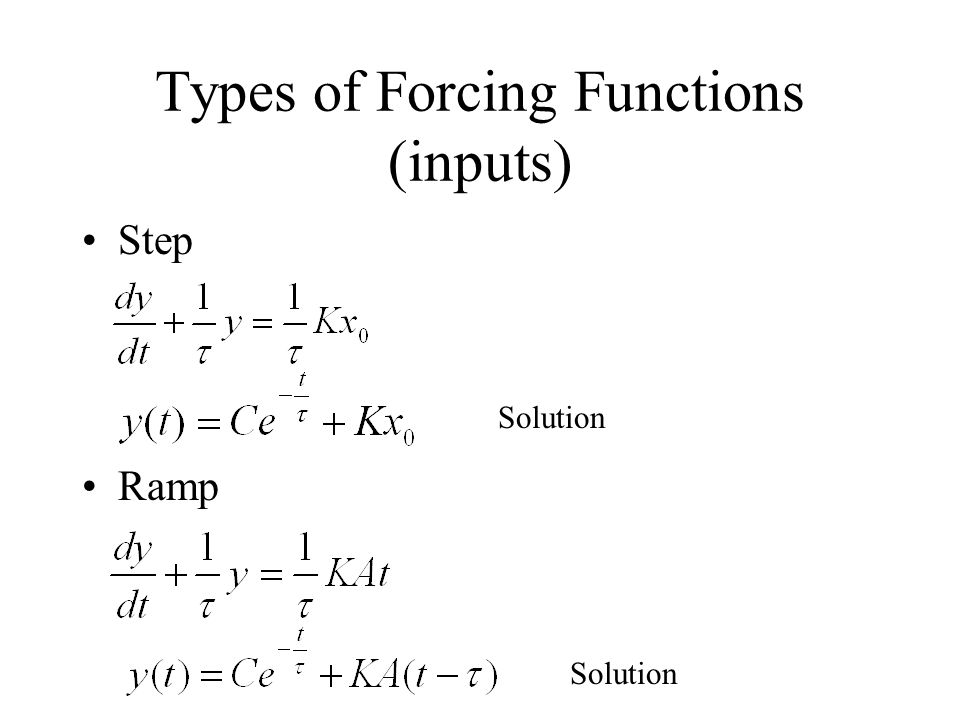 Types of Forcing Functions (inputs) Step Ramp Solution