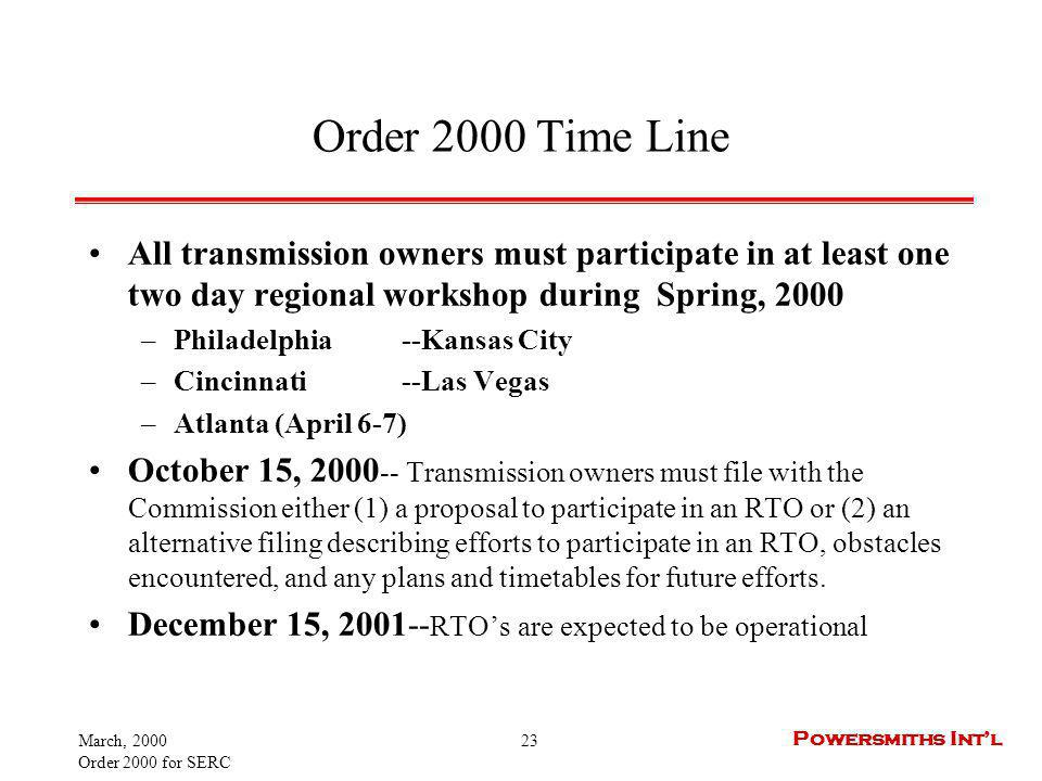 March, 2000 Order 2000 for SERC 23 Powersmiths Intl Order 2000 Time Line All transmission owners must participate in at least one two day regional workshop during Spring, 2000 –Philadelphia--Kansas City –Cincinnati--Las Vegas –Atlanta (April 6-7) October 15, 2000 -- Transmission owners must file with the Commission either (1) a proposal to participate in an RTO or (2) an alternative filing describing efforts to participate in an RTO, obstacles encountered, and any plans and timetables for future efforts.