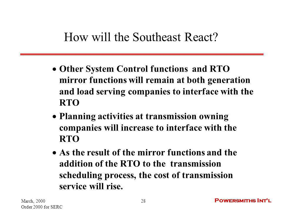 March, 2000 Order 2000 for SERC 28 Powersmiths Intl How will the Southeast React? Other System Control functions and RTO mirror functions will remain