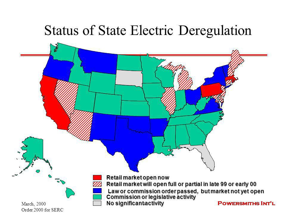 March, 2000 Order 2000 for SERC 4 Powersmiths Intl Status of State Electric Deregulation Retail market open now Law or commission order passed, but ma