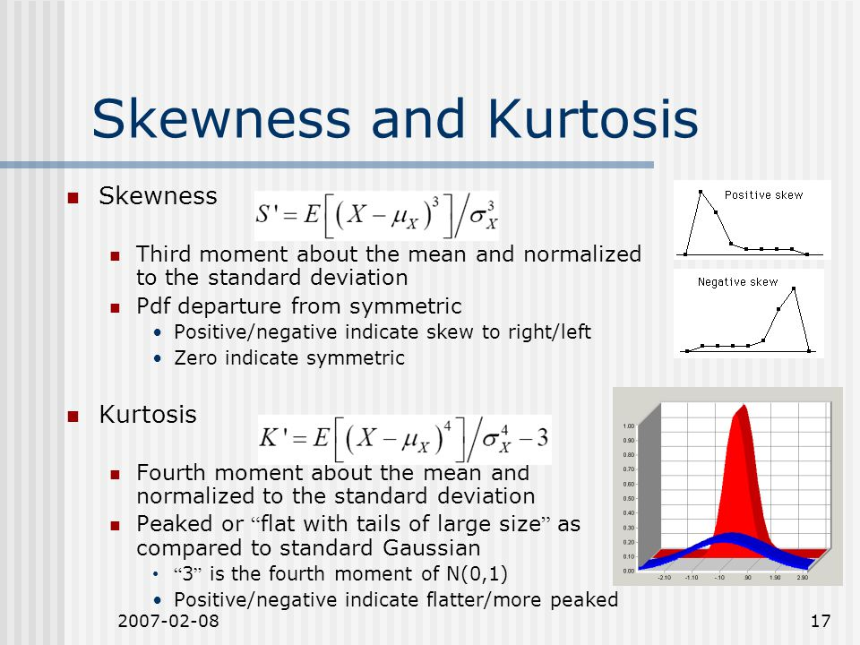 2007-02-0817 Skewness and Kurtosis Skewness Third moment about the mean and normalized to the standard deviation Pdf departure from symmetric Positive/negative indicate skew to right/left Zero indicate symmetric Kurtosis Fourth moment about the mean and normalized to the standard deviation Peaked or flat with tails of large size as compared to standard Gaussian 3 is the fourth moment of N(0,1) Positive/negative indicate flatter/more peaked