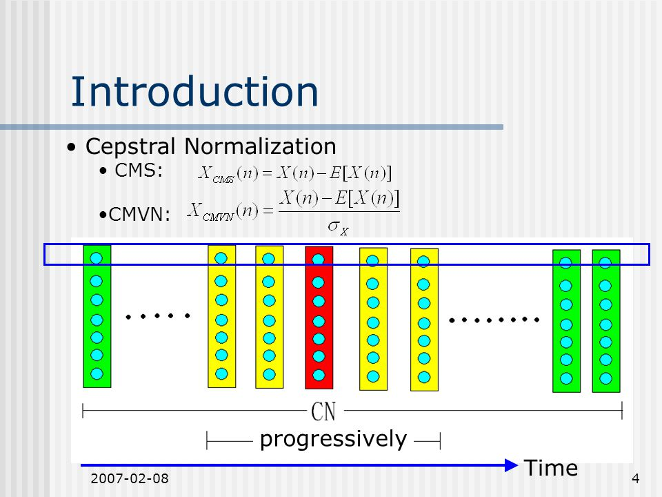 2007-02-084 Introduction Cepstral Normalization CMS: CMVN: Time progressively
