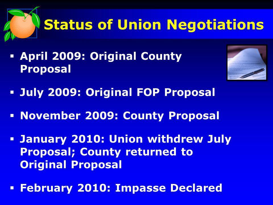 Status of Union Negotiations April 2009: Original County Proposal July 2009: Original FOP Proposal November 2009: County Proposal January 2010: Union withdrew July Proposal; County returned to Original Proposal February 2010: Impasse Declared