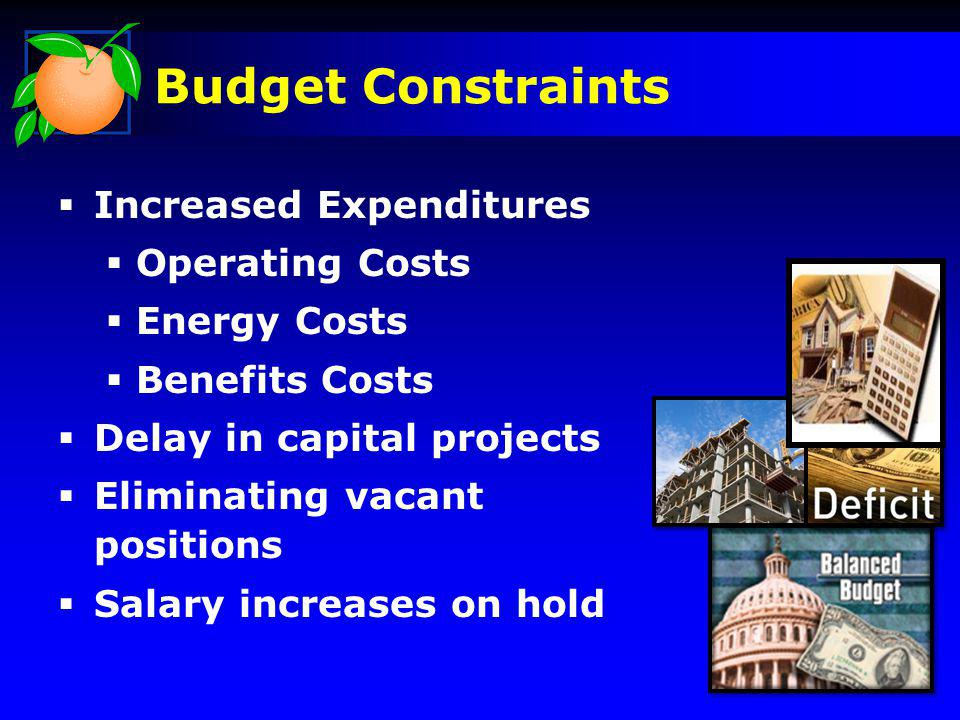 Increased Expenditures Operating Costs Energy Costs Benefits Costs Delay in capital projects Eliminating vacant positions Salary increases on hold Budget Constraints