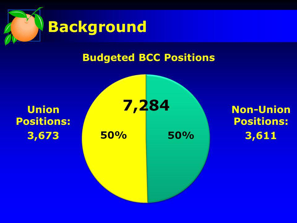 Background Union Positions: 3,673 Non-Union Positions: 3,611 Budgeted BCC Positions 7,284
