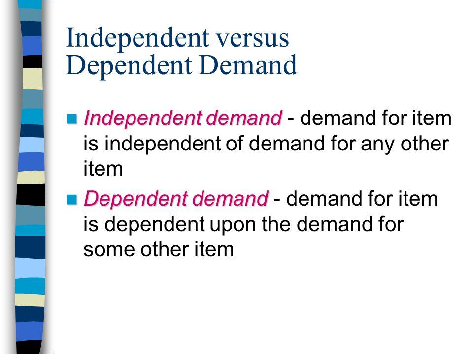 Independent versus Dependent Demand Independent demand Independent demand - demand for item is independent of demand for any other item Dependent demand Dependent demand - demand for item is dependent upon the demand for some other item