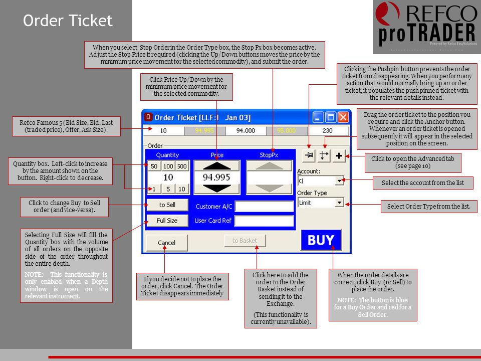 Order Ticket When you select Stop Order in the Order Type box, the Stop Px box becomes active. Adjust the Stop Price if required (clicking the Up/Down