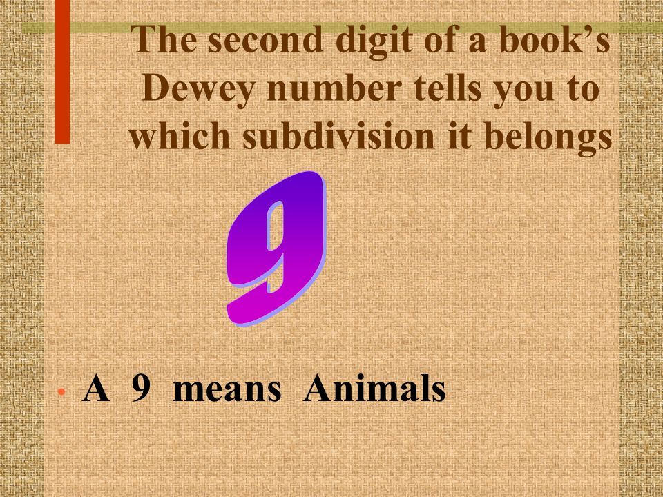 The second digit of a books Dewey number tells you to which subdivision it belongs A 9 means Animals