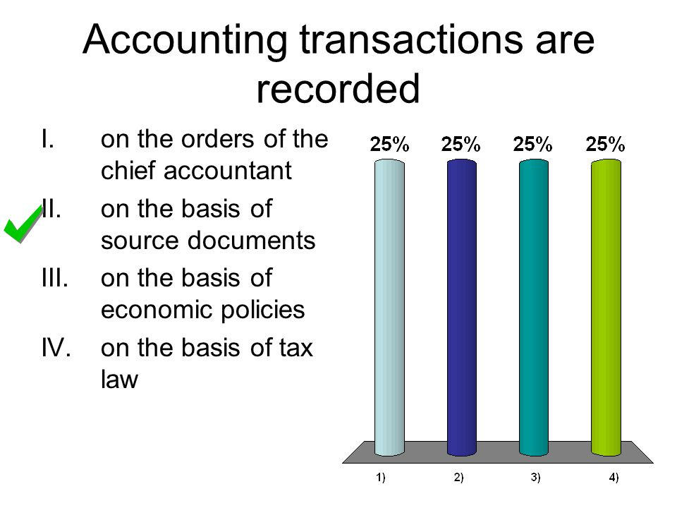 Accounting transactions are recorded I.on the orders of the chief accountant II.on the basis of source documents III.on the basis of economic policies IV.on the basis of tax law