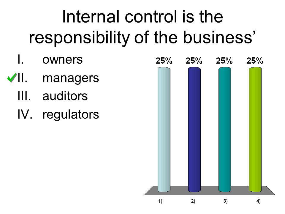 Internal control is the responsibility of the business I.owners II.managers III.auditors IV.regulators