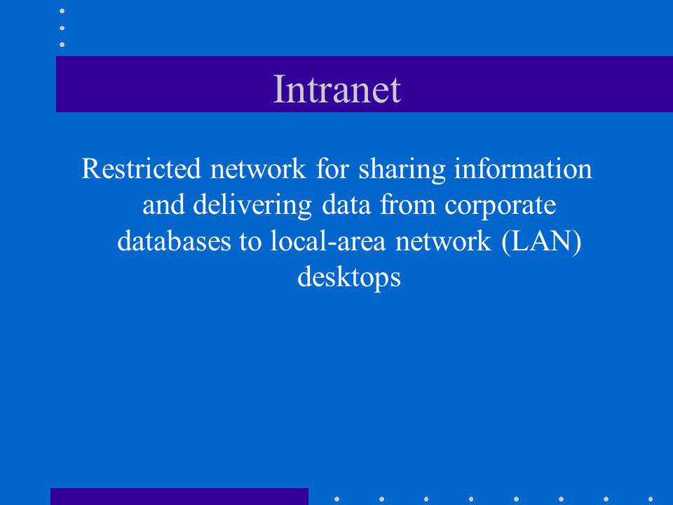 Intranet Restricted network for sharing information and delivering data from corporate databases to local-area network (LAN) desktops