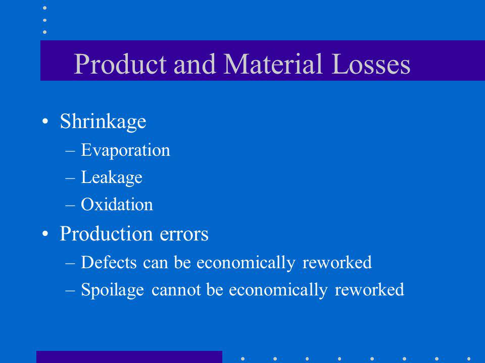 Product and Material Losses Shrinkage –Evaporation –Leakage –Oxidation Production errors –Defects can be economically reworked –Spoilage cannot be eco