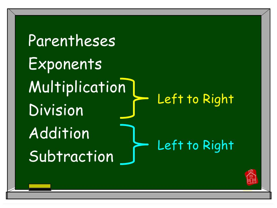 Parentheses Exponents Multiplication Division Addition Subtraction Left to Right