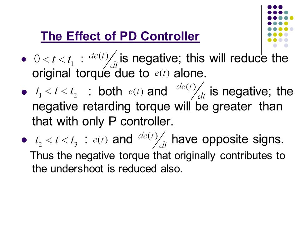 The contributing factors to the high overshoot The positive correcting torque in the interval is too large ( ) Decrease the amount of positive torque The retarding torque in the interval is inadequate ( ) Increase the retarding torque