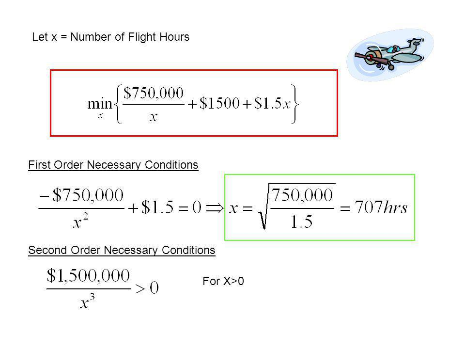 Let x = Number of Flight Hours First Order Necessary Conditions Second Order Necessary Conditions For X>0