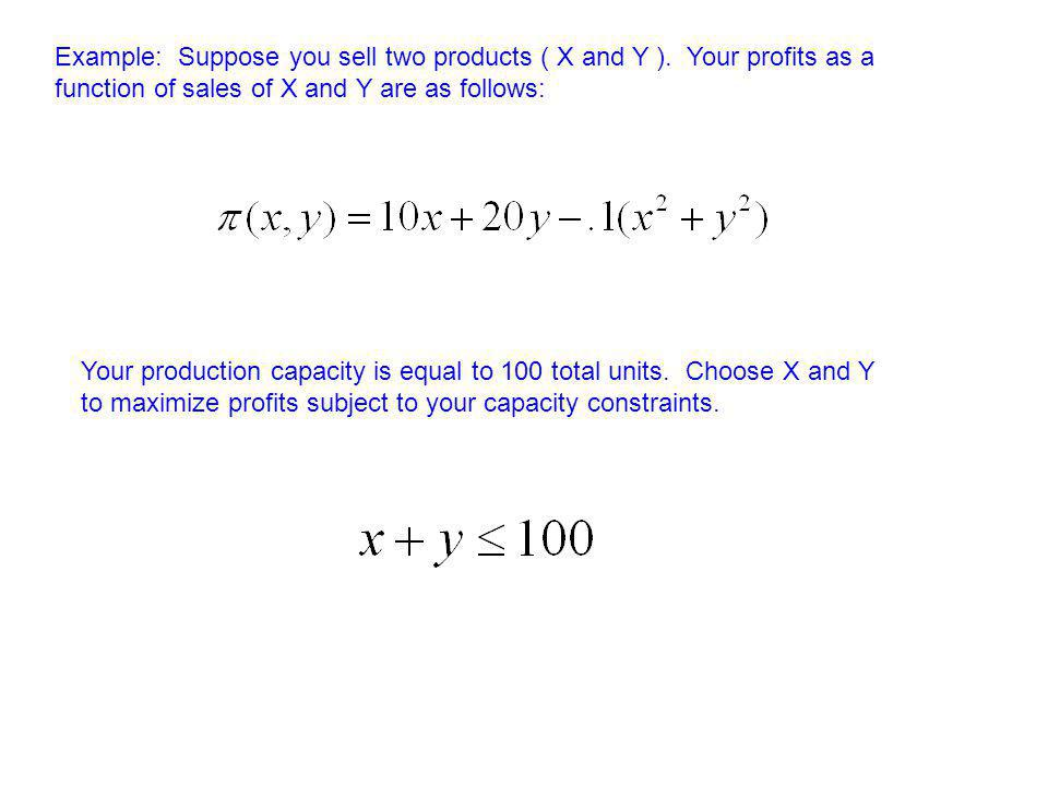 Example: Suppose you sell two products ( X and Y ). Your profits as a function of sales of X and Y are as follows: Your production capacity is equal t