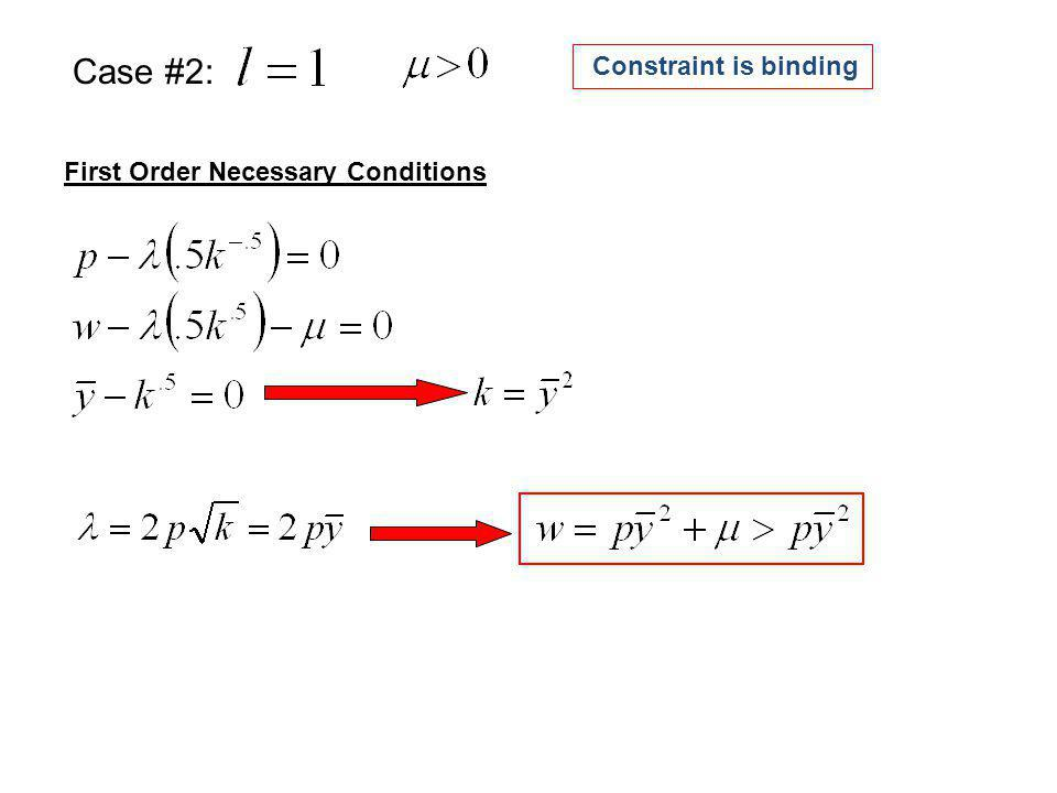First Order Necessary Conditions Case #2: Constraint is binding