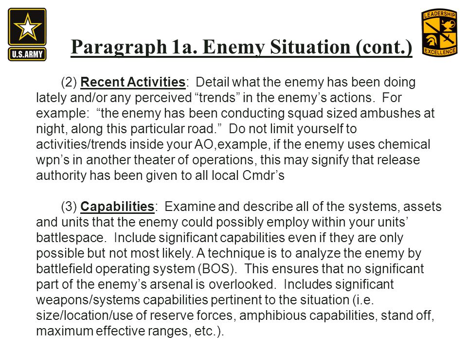 Paragraph 1a. Enemy Situation (cont.) (2) Recent Activities: Detail what the enemy has been doing lately and/or any perceived trends in the enemys act