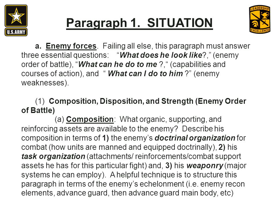 Paragraph 1. SITUATION a. Enemy forces. Failing all else, this paragraph must answer three essential questions: What does he look like?, (enemy order