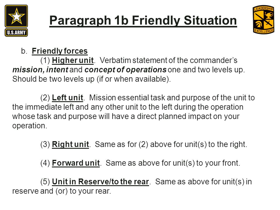 Paragraph 1b Friendly Situation b.Friendly forces (1) Higher unit.
