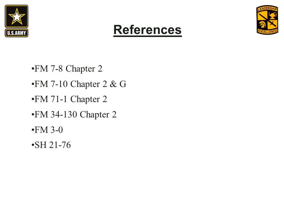 References FM 7-8 Chapter 2 FM 7-10 Chapter 2 & G FM 71-1 Chapter 2 FM 34-130 Chapter 2 FM 3-0 SH 21-76