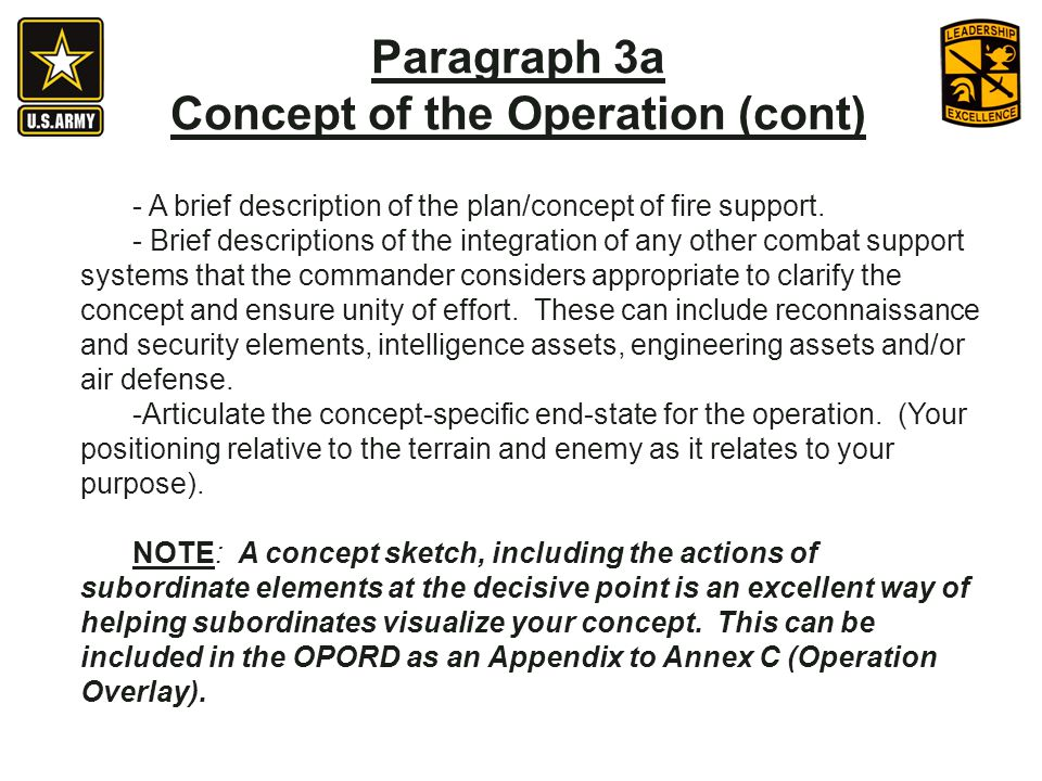 - A brief description of the plan/concept of fire support.
