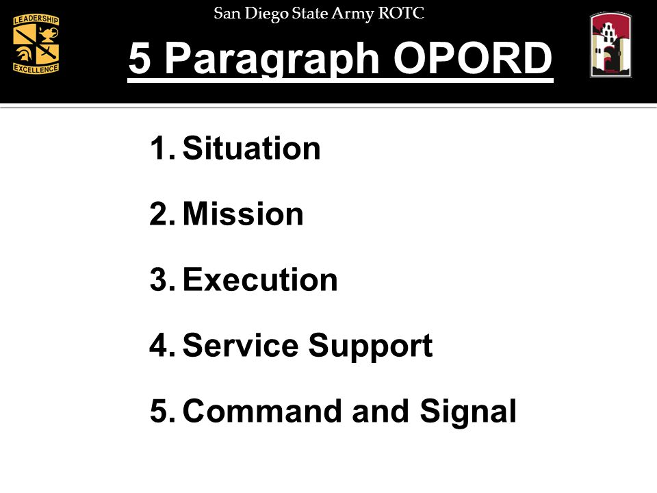 San Diego State Army ROTC Baseline Data 1)Operations Order # / Code Name if Used 2)References (maps, previous orders, FRAGOs, etc) 3) Time Zone Used Throughout Order 4) Task Organization