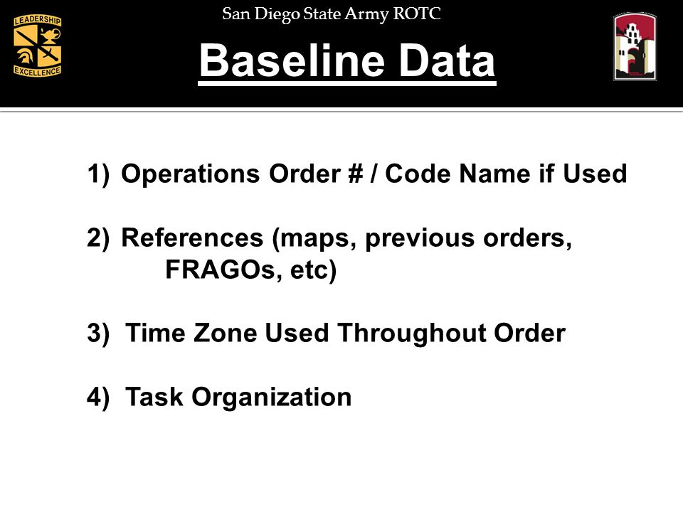 San Diego State Army ROTC Baseline Data 1)Operations Order # / Code Name if Used 2)References (maps, previous orders, FRAGOs, etc) 3) Time Zone Used T