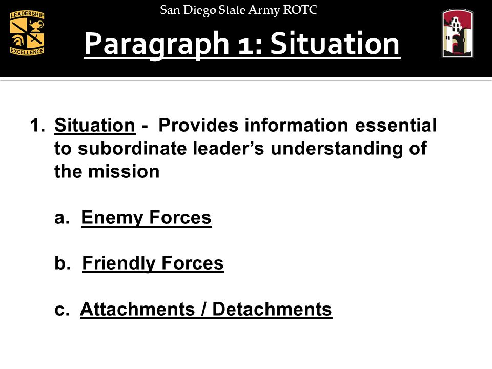 San Diego State Army ROTC Paragraph 1: Situation 1.Situation - Provides information essential to subordinate leaders understanding of the mission a. E