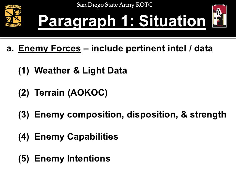 San Diego State Army ROTC Enemy Forces: Terrain a.Enemy Forces (2) Terrain – define area of operations & area of interest, advantages / disadvantages to friendly & enemy, impact on mission A - Avenues of approach O - Observation and fields of fire K - Key terrain O - Obstacles C - Cover and concealment