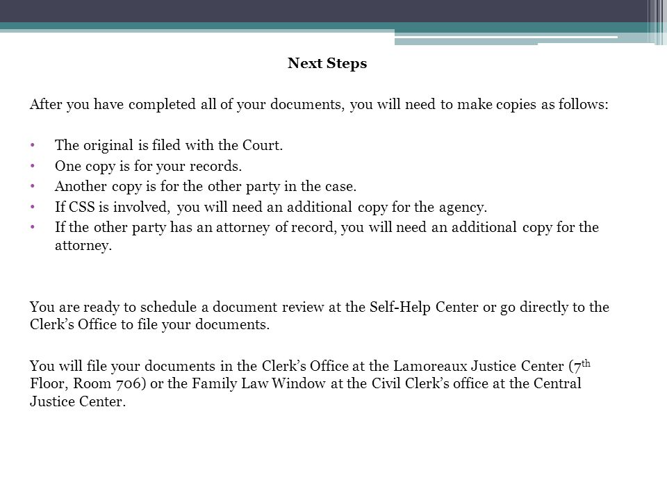 Next Steps After you have completed all of your documents, you will need to make copies as follows: The original is filed with the Court. One copy is