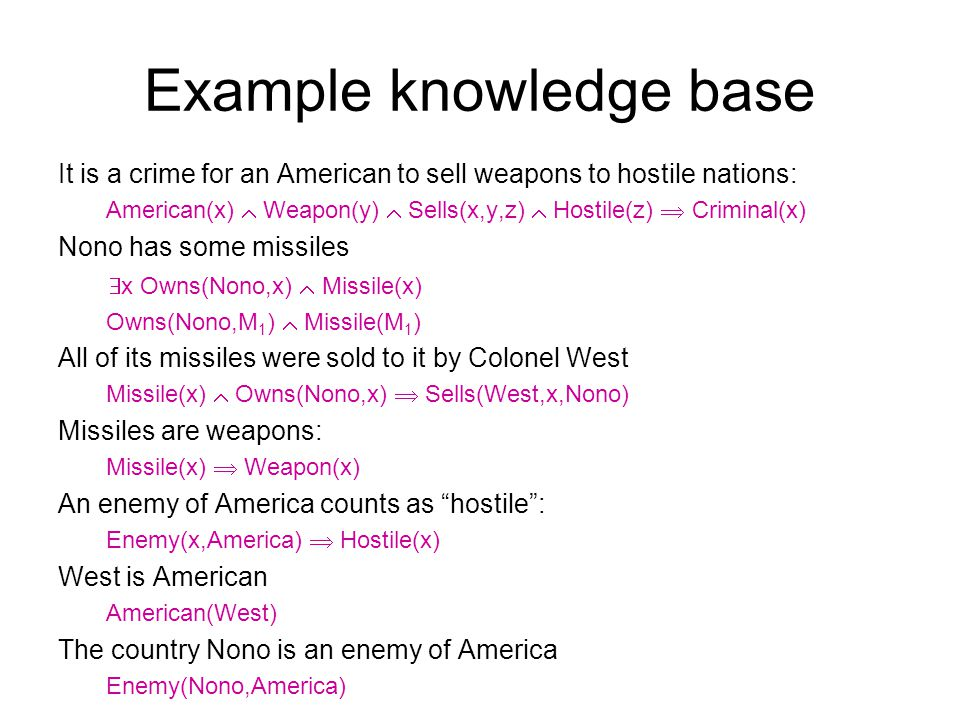 Example knowledge base It is a crime for an American to sell weapons to hostile nations: American(x) Weapon(y) Sells(x,y,z) Hostile(z) Criminal(x) Non