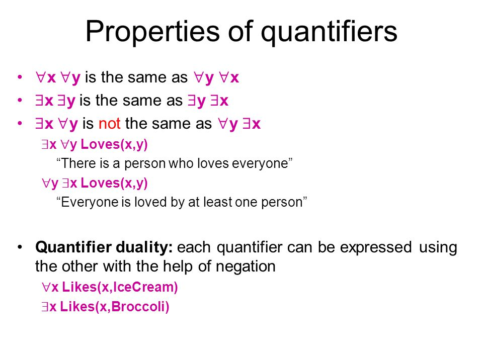 Properties of quantifiers x y is the same as y x x y is not the same as y x x y Loves(x,y) There is a person who loves everyone y x Loves(x,y) Everyon