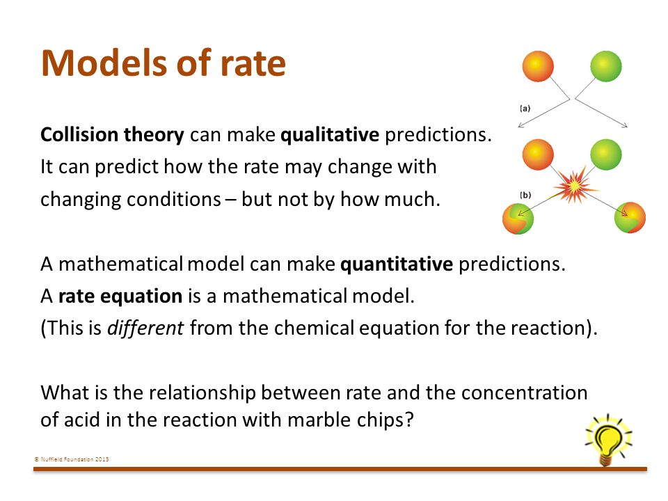 © Nuffield Foundation 2013 Models of rate Collision theory can make qualitative predictions.