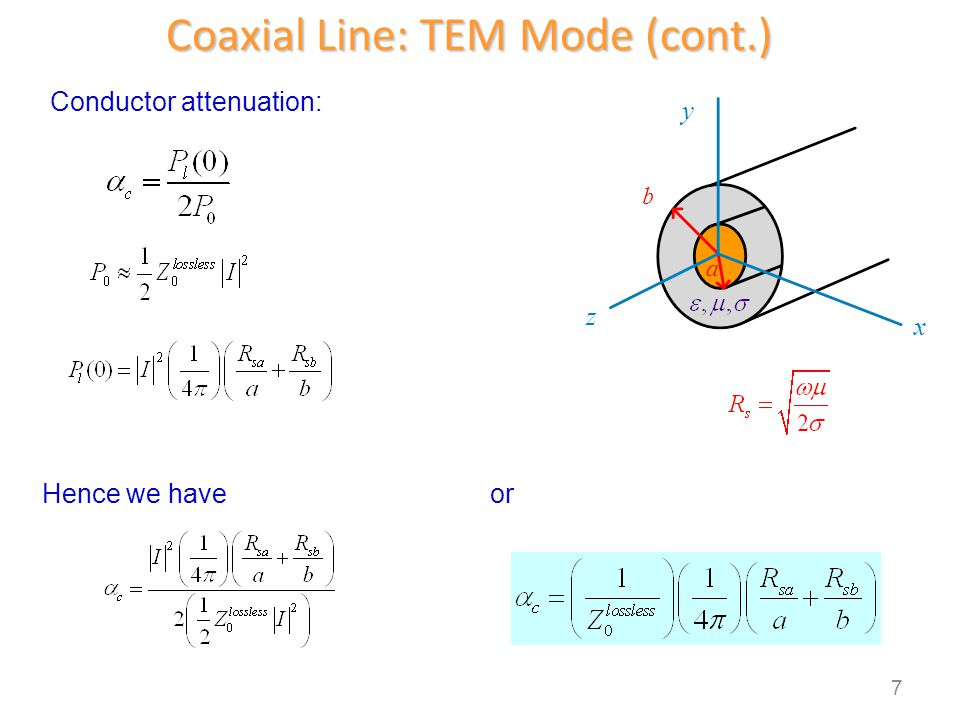 Coaxial Line: TEM Mode (cont.) z y x b a Conductor attenuation: Hence we haveor 7
