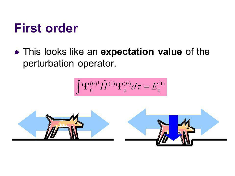 First order This looks like an expectation value of the perturbation operator.