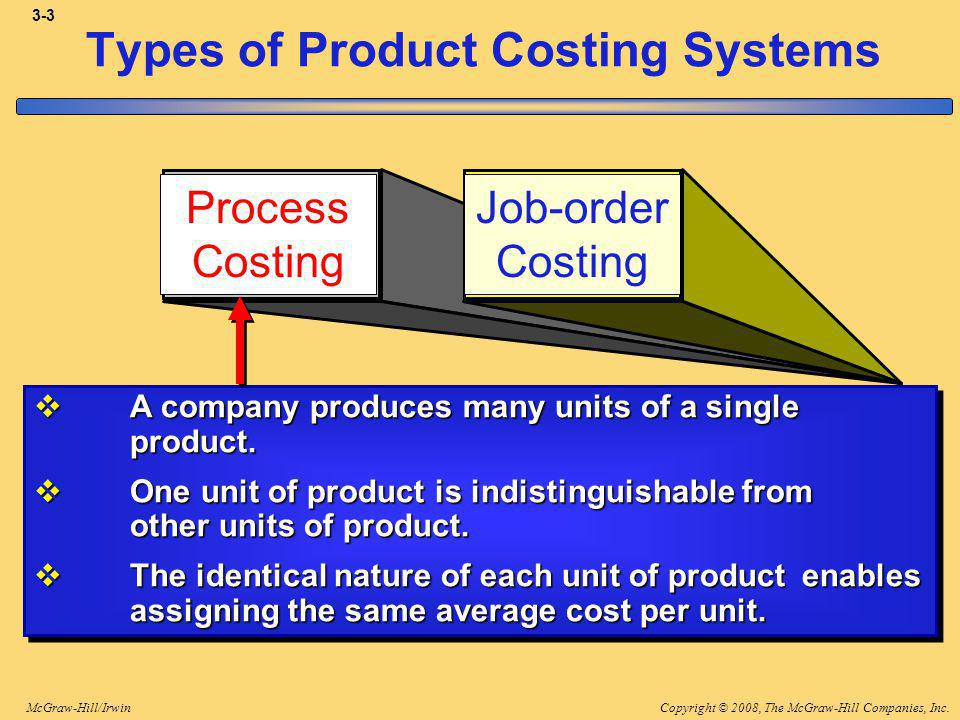Copyright © 2008, The McGraw-Hill Companies, Inc.McGraw-Hill/Irwin 3-4 Types of Product Costing Systems Process Costing Job-order Costing A company produces many units of a single product.