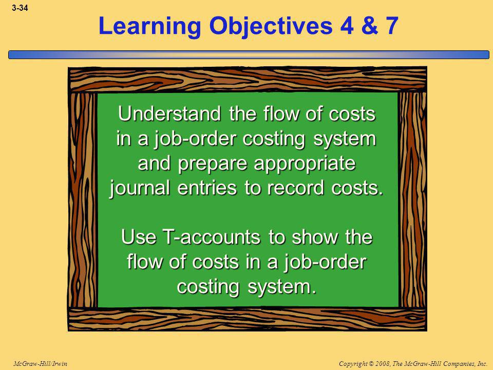 Copyright © 2008, The McGraw-Hill Companies, Inc.McGraw-Hill/Irwin 3-34 Learning Objectives 4 & 7 Understand the flow of costs in a job-order costing system and prepare appropriate journal entries to record costs.
