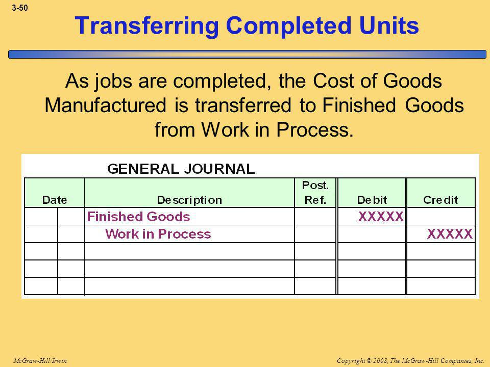 Copyright © 2008, The McGraw-Hill Companies, Inc.McGraw-Hill/Irwin 3-50 Transferring Completed Units As jobs are completed, the Cost of Goods Manufactured is transferred to Finished Goods from Work in Process.