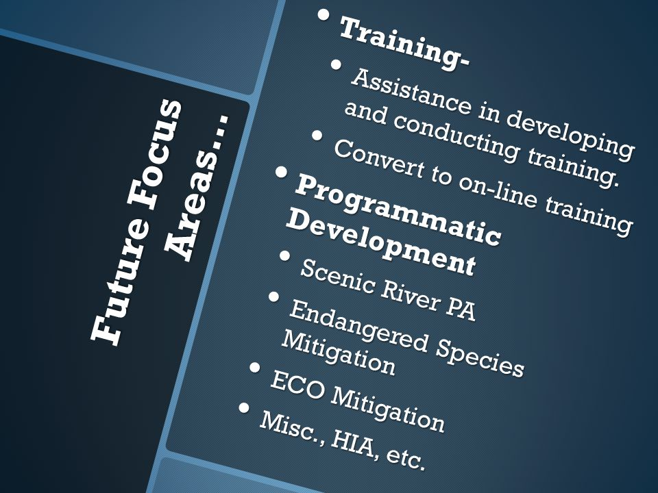 Future Focus Areas… Training- Training- Assistance in developing and conducting training.