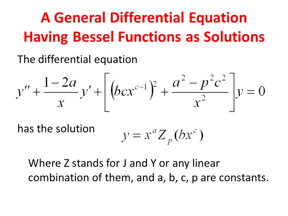The differential equation has the solution Where Z stands for J and Y or any linear combination of them, and a, b, c, p are constants.